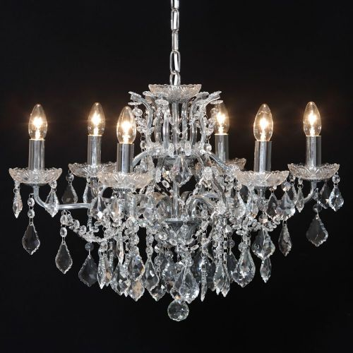 Antique French Cut Glass Chrome Chandelier 6 arm